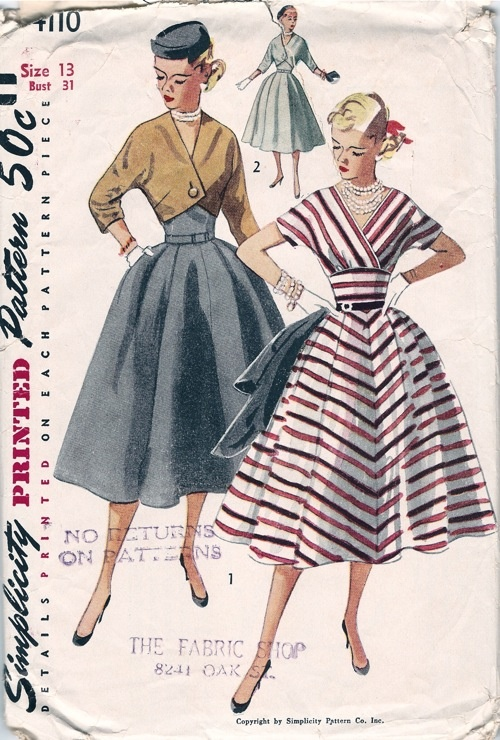 Simplicity 4110; ©1952; Junior Misses' and Misses' One-Piece Dress and Short Jacket: Dress: Upper bodice fronts overlap forming a V shaped neckline. Kimono sleeves and a midriff style the bodice. The skirt has two soft pleats each side of center front with a concealed pocket in the right side seam. Jacket is fitted and has three quarter length kimono sleeves. One button closes the front.