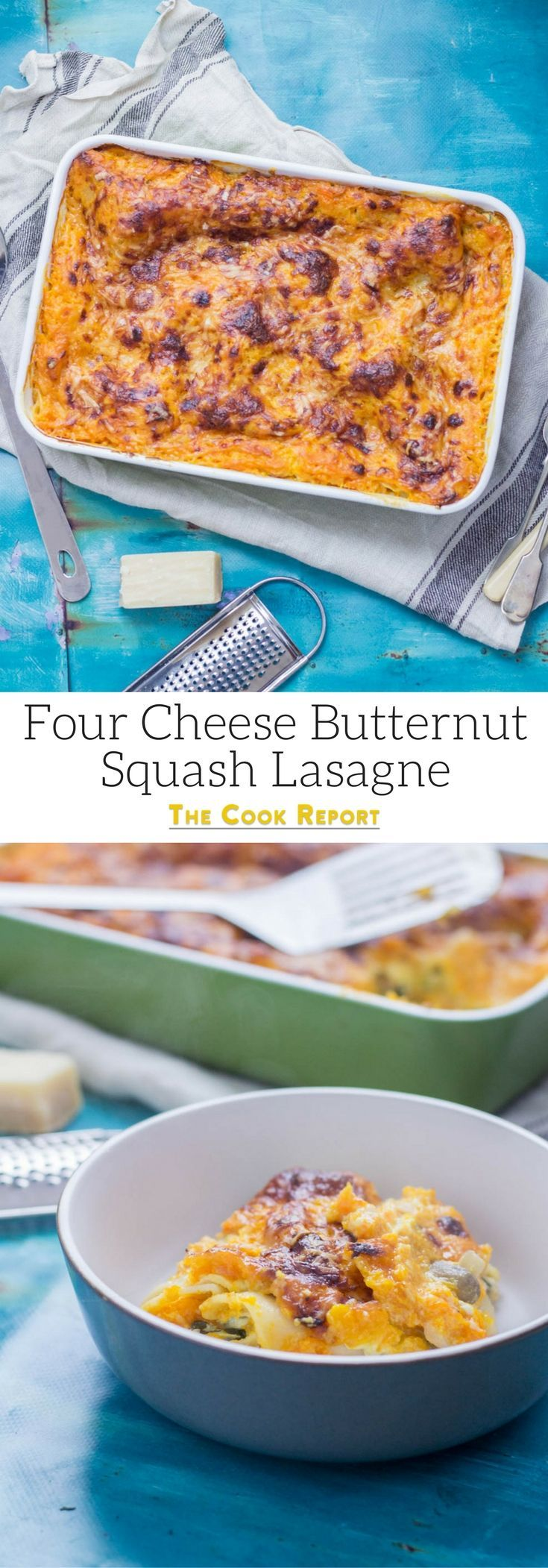 Four Cheese Butternut Squash Lasagne. This vegetarian twist on a classic pasta dish is the perfect comfort food! This four cheese butternut squash lasagne is layered with spinach and mushrooms. #lasagne #lasagna #squash #pasta #dinner