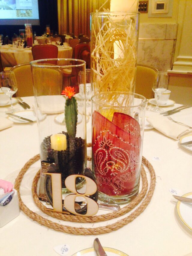 Grand Ole Opry Themed Centerpieces.  Those table numbers are homemade!