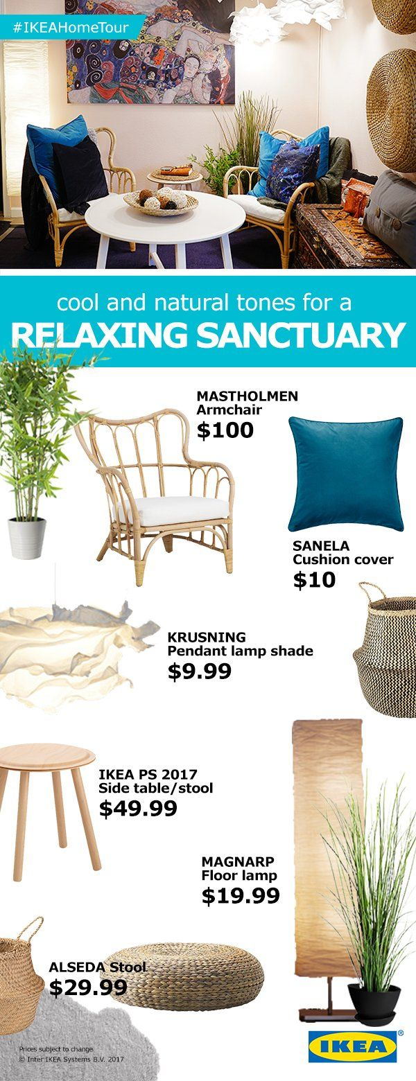 For a relaxing sanctuary look and feel in your home, look for furniture and décor made from raw or natural materials and light, neutral tones.