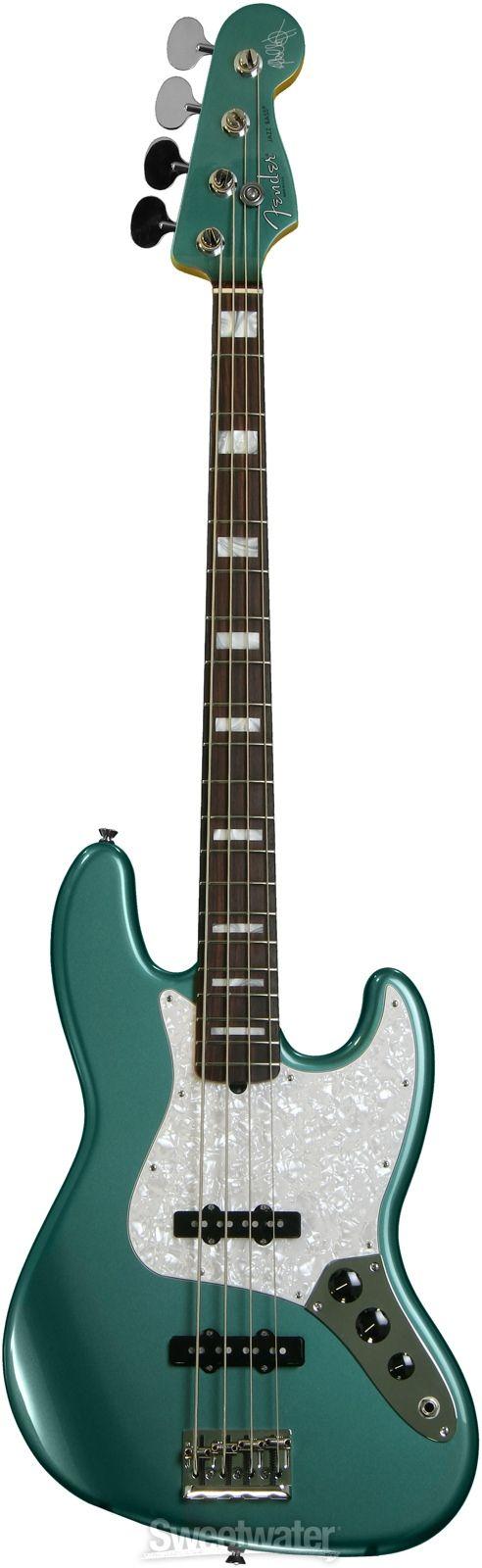 Fender Adam Clayton Jazz Bass - Sherwood Green Metallic   Sweetwater.com