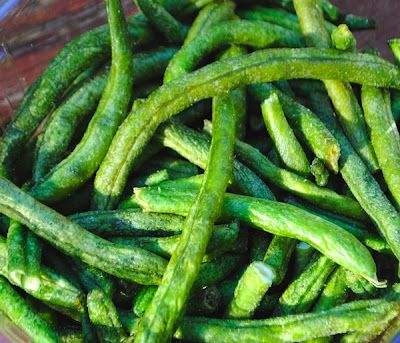 Crispy Green Bean Chips (a la a low carb potato chip)...I am so addicted to these! I'll save a ton of money with this recipe