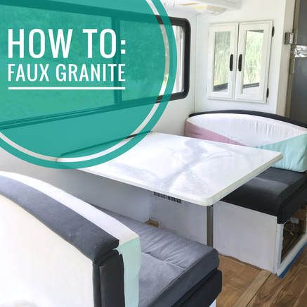 How To: Faux Granite.  9 step tutorial of how to paint your counter tops to look like faux granite. Kitchen Faux Granite, Motorhome faux marble, bathroom faux granite. Giani White Diamond