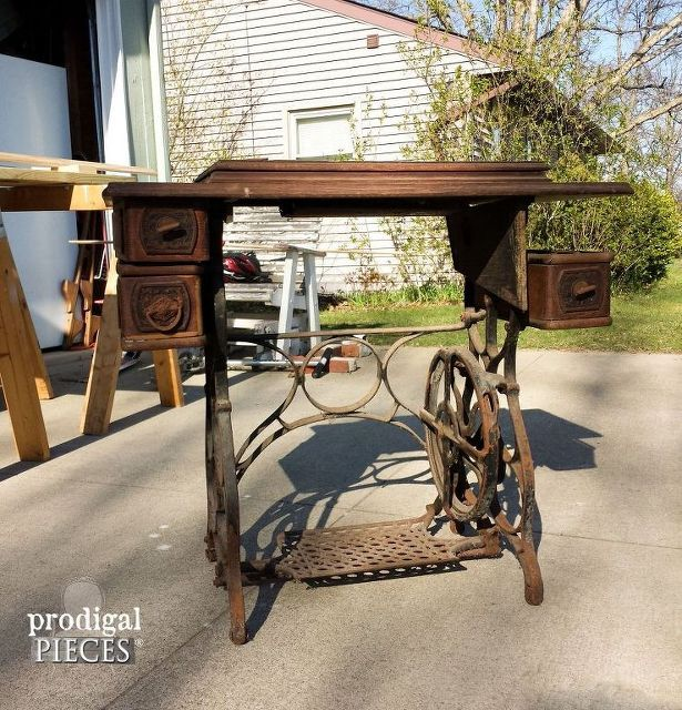 antique treadle sewing machine gets reclaimed farmhouse makeover