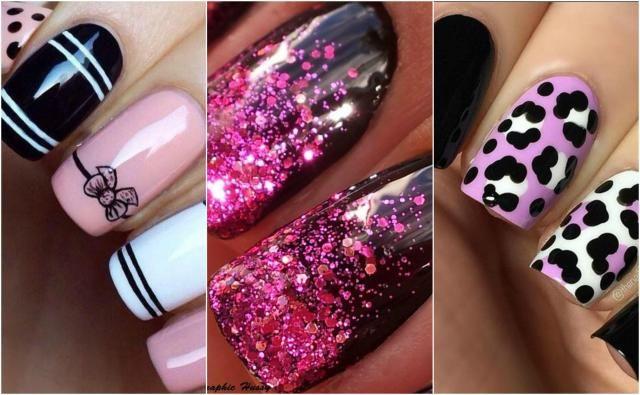 Paznokcie różowo czarne - przegląd inspiracji #paznokcie #paznokcieróżowe #paznokcieczarne