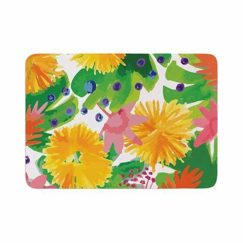 "Yenty Jap ""Tropical Flowers Burst"" Yellow Green Watercolor Memory Foam Bath Mat"