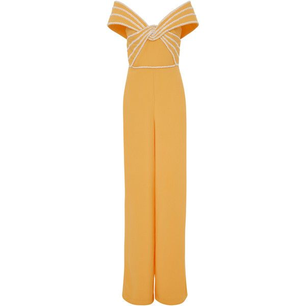 Elizabeth Kennedy Off The Shoulder Jumpsuit With Pearl Embroidery (6,980 CAD) ❤ liked on Polyvore featuring jumpsuits, orange, elizabeth kennedy, brown jumpsuit, off the shoulder jumpsuit, orange jumpsuit and orange jump suit
