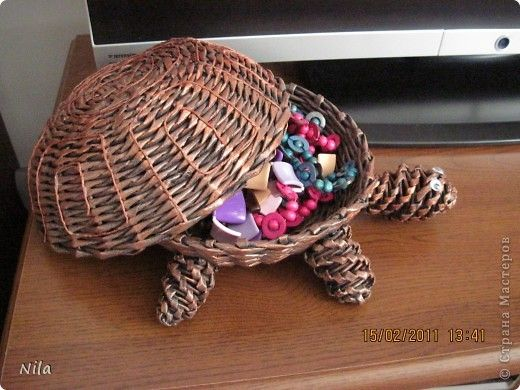 Мастер-класс Плетение: Медная черепашка и малюсенький МК по покраске Бумага газетная. Фото 3