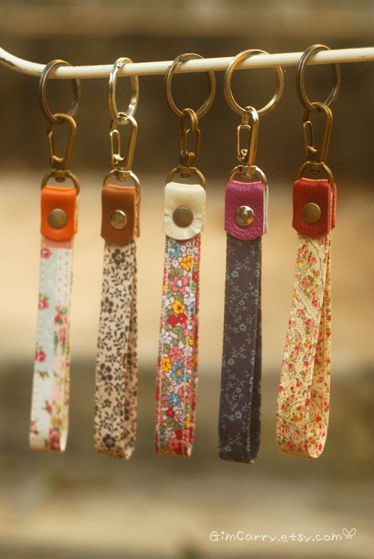 Love this instead of having a whole lanyard chain. Use antique fabrics and leather