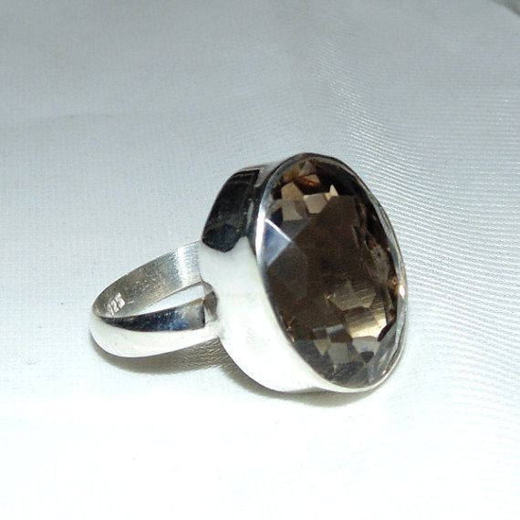 Natural Smoky Quartz Ring - Handmade 925 Sterling Silver Ring - Faceted Smoky Quartz Gemstone Jewelry - Designer Gemstone Ring - Bezel Ring