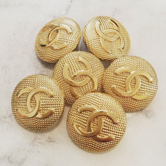 Chanel Buttons  Set x 6 20mm Estate Sale Unsigned Chanel