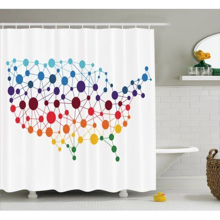 Map Shower Curtain Dotted Map Of United States Colorful Spotted