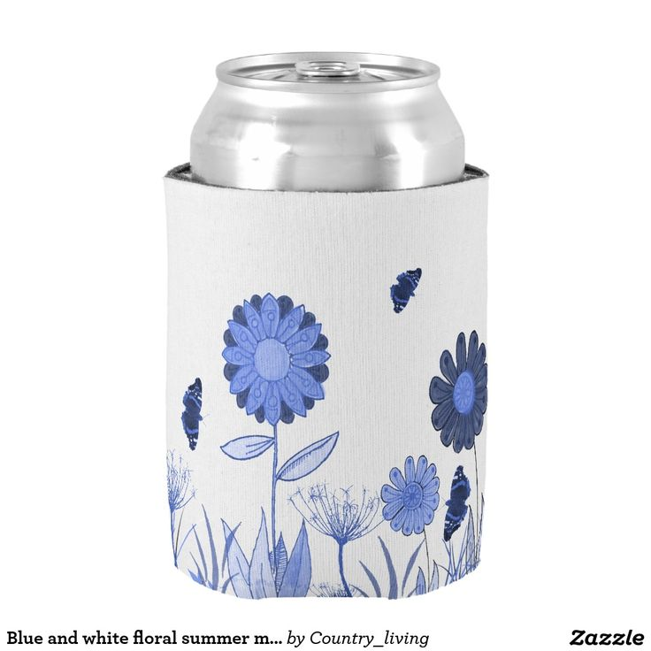 Blue and white floral summer meadow can cooler