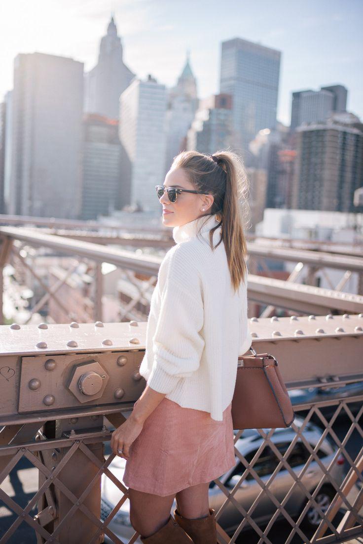 Gal Meets Glam Brooklyn Bridge -Paper Crown sweater, Rachel Antonoff skirt, c/o Lord & Taylor, Fendi bag & Ray Ban Sunglasses