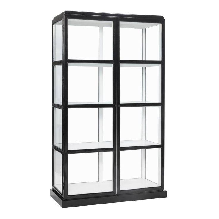 Berg je favoriete en persoonlijke items op in deze zwarte vitrinekast met glas. De binnenzijde is wit, waardoor jouw de uitgestalde producten nog meer tot recht komen.