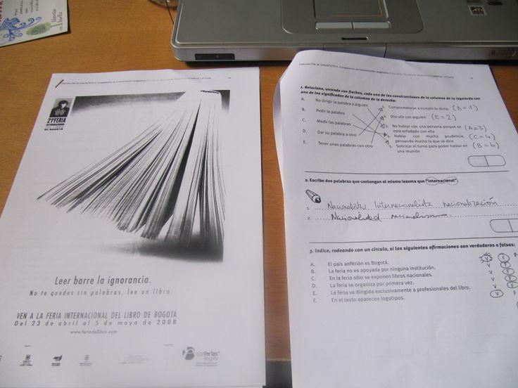 """21:35 Corrijo unas pruebas de comprensión lectora del Taller de comunicación de 2º ESO: la publicidad de una feria Internacional del Libro celebrada en Bogotá: """" Leer brre la ignorancia"""""""