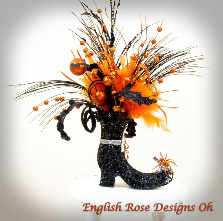 glittered orange and black witch boot witch decor halloween decor elegant witch boot witch centerpiece halloween centerpiece by - Halloween Centerpieces