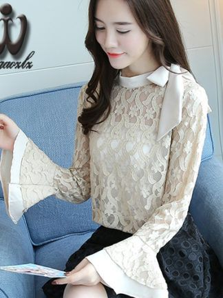4dde4d43c75 Dioufond Korean Style Women Blouses Floral Chiffon Shirts – Clothings  Aliexpress