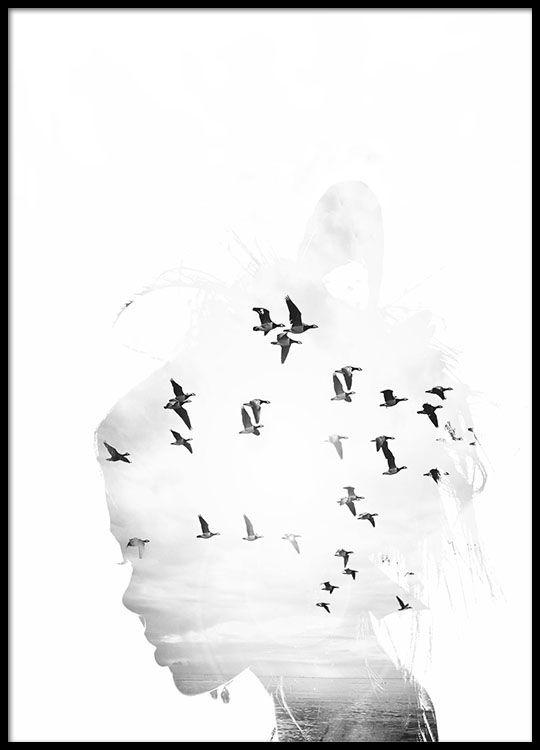Girl Silhouette poster in de groep Posters / Zwart wit bij Desenio AB (8668)