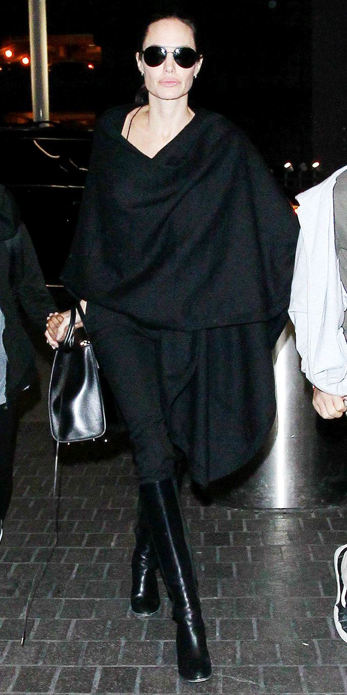 Angelina Jolie looked chic in all-black as she arrived the airport.