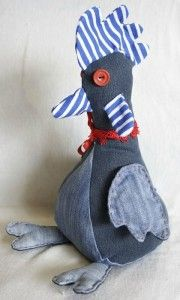 denim chicken  rooster/would make a good weighted doorstop for their kitchen?-dmw
