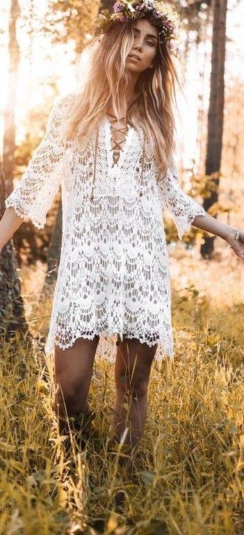 #summer #fashionistas #outfitideas | Midsummer White Crochet Dress
