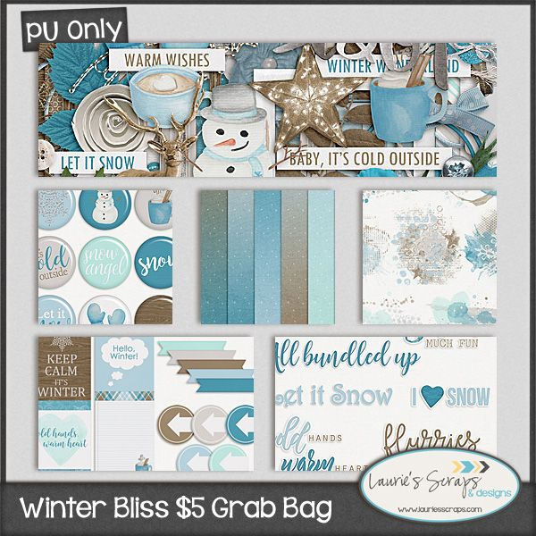 Winter Bliss $5 Grab Bag from Laurie's Scraps & Designs. A great winter digital scrapbooking kit. $5 now till 12/1/16