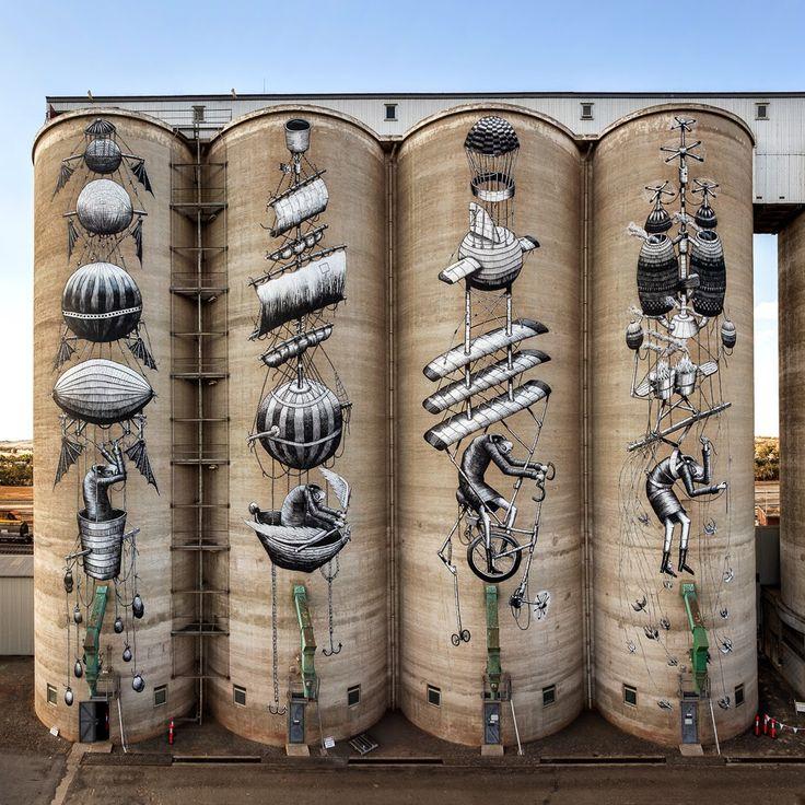 Public '15: Phlegm paints a series of giant silos in Perth, Australia