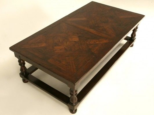 Large Scale Coffee Table With Antique French Flooring Top