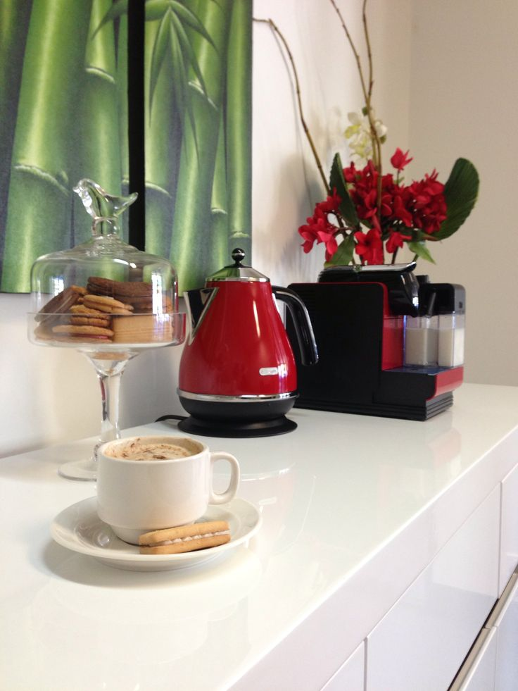 Check out our treats for our customers that await them when they come into our office! Modern and stylish red!