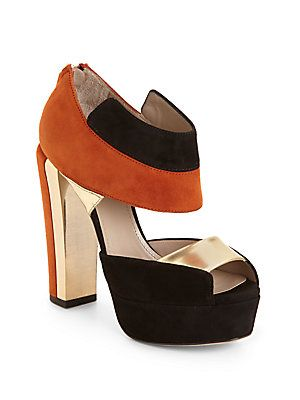 Calvin Klein Collection Amelia Colorblock Suede Platform Sandals