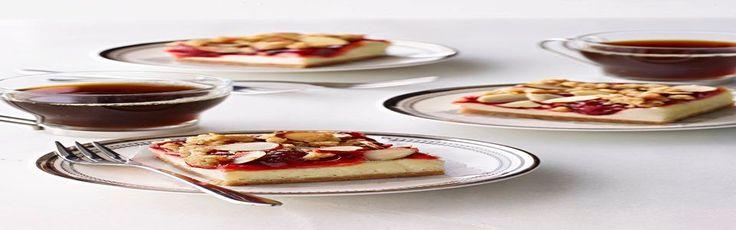 Barras de cheesecake con cerezas Receta