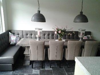 Luxe eetkeuken zitbank interieur idee n pinterest turkoois met en taupe - Idee van de eetkamer ...