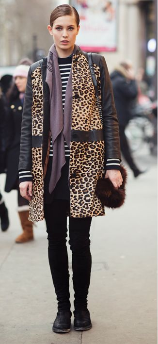 Love the mix of prints and colors. I like the striped shirt as a base layer here with solid black on bottom. So slick!