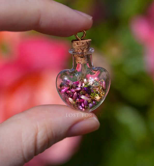 Heather Bud Bottle Necklace by Lost Forest Jewellery
