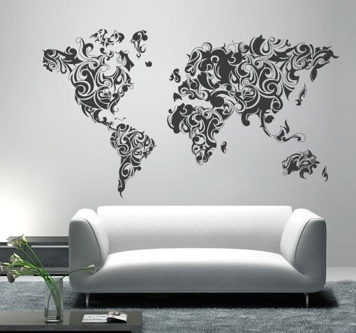 World Map  Tribal Floral World Map decal for by decalSticker, $125.00