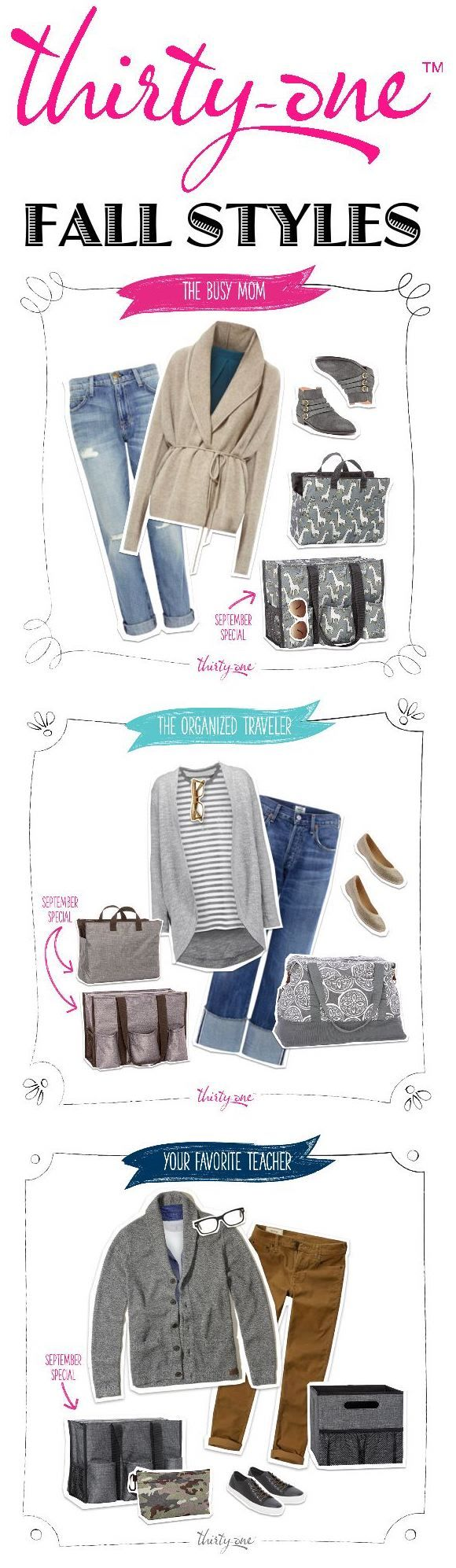 Thirty-One FALL STYLES for The Busy Mom, The Organized Traveler and Your Favorite Teacher. Check them out at MyThrityOne.com/PiaDavis or find your consultant in the upper right hand corner of the website.