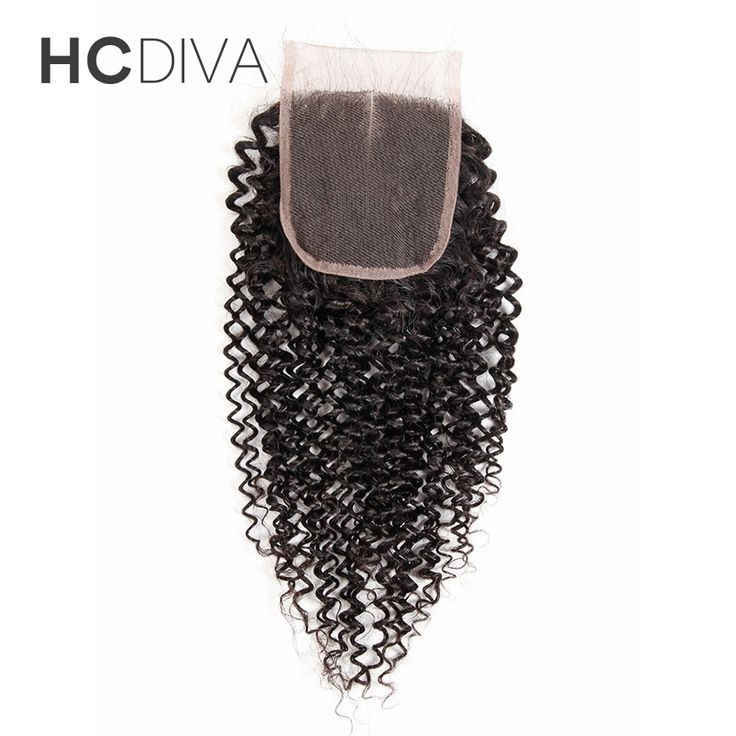 """HCDIVA Lace Closure Kinky Curly Weave Malaysian Human Hair Middle Part Closure Medium Brown Non Remy 8"""" 10"""" 12"""" 14"""" 16"""" 18"""""""
