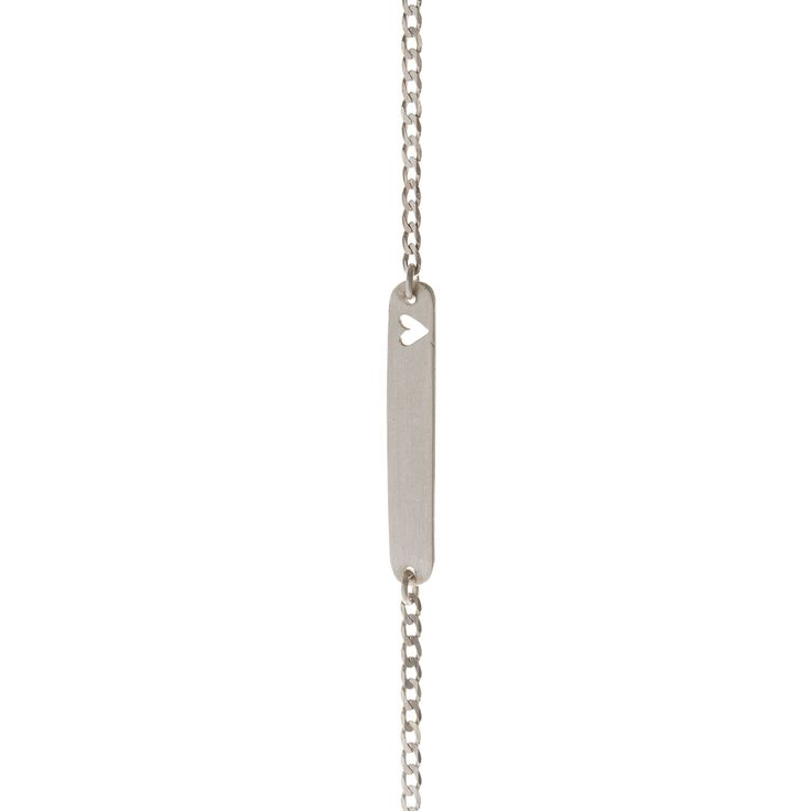 A sterling silver rectangle shape with a small heart cutout, centered on a sterling silver chain.