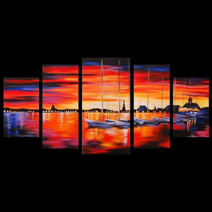 Schilderijen Schilderij boten ondergaande zon 5697 Kunst
