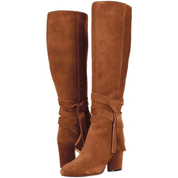 The Fix Women's Nia Knee-High Ankle Tie Boot ($169) ❤ liked on Polyvore featuring shoes, boots, knee-high boots, knee-length boots, wrap ankle boots and ankle strap boots