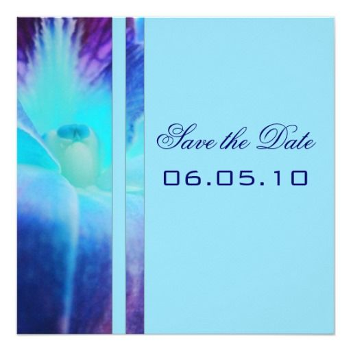 """Blue Orchid Save the Date Announcement 5.25"""" Square Invitation Card"""