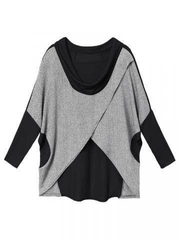 Women Loose Patchwork Irregular Batwing Sleeve Cotton T-shirt