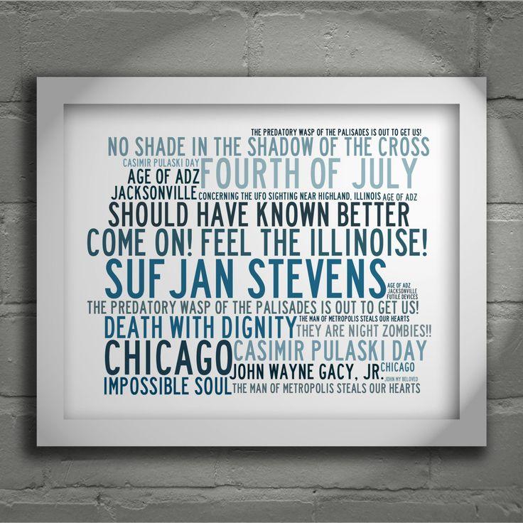 Crystalline SUFJAN STEVENS Typography Art Print Lyrics ...