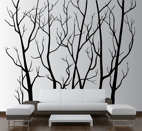 Large Wall Art Decor Vinyl Tree Forest Decal by innovativestencils, $112.99
