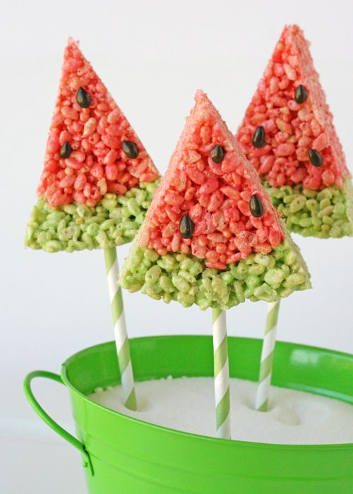 """Very cute idea for serving """"watermelon"""" Rice Krispies treats (basic Rice Krispies treats recipe and tutorial; add additional flavoring if desired) for the Fourth of July or any summer picnic gathering."""