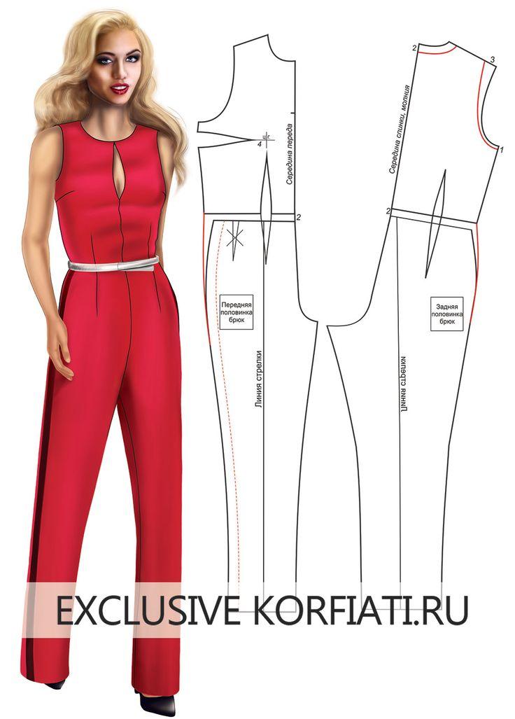 Базовая выкройка женского комбинезона. Наравне с короткими шортами, юбками и топами, модным предметом летнего женского гардероба является комбинезон.