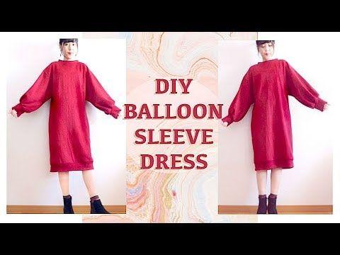 DIY Balloon Sleeve Dress // 秋冬ファッション☃ボリュームスリーブニットワンピースの作り方ㅣmadebyaya - YouTube