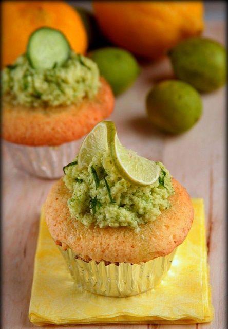 Limoen Cupcakes met Komkommer Topping - lime cucumber