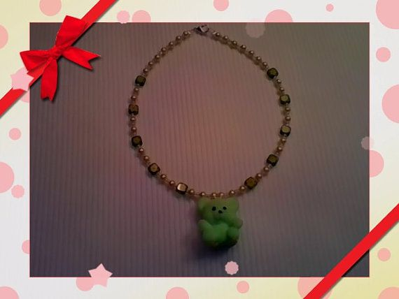 Fuzzy wuzzy bear neclace by KandiezCreations on Etsy, $12.00